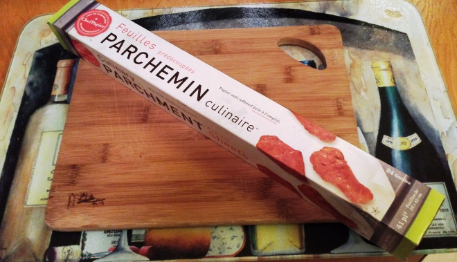 10 x 9 inch cutting board and PaperChef parchment paper