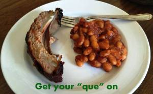 Get your que on caption