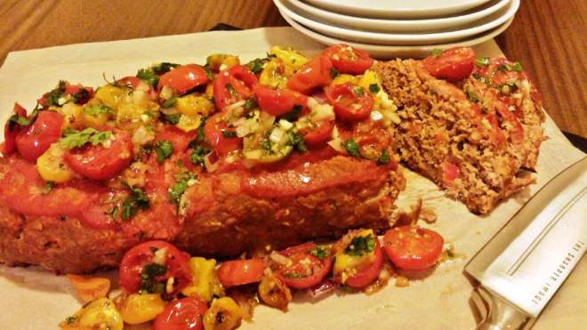 Old School Meatloaf with Easy Roasted Tomato Salsa
