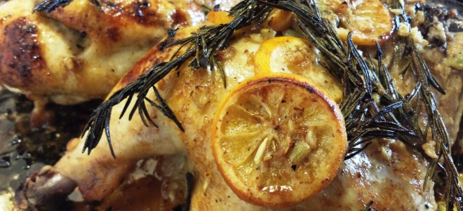 Rosy lemon chicken cooked