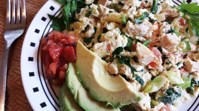 TMAC Egg Scramble with fresh avocado and salsa