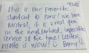 Hand written parton note