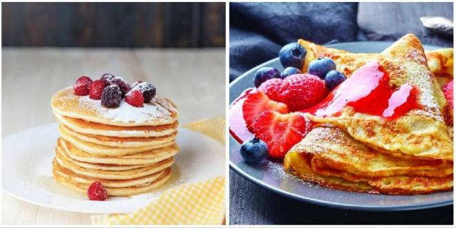 Left: Crepes made with Glynis' Waffle mix. Right: pancakes made with Glynis' Waffle Mix