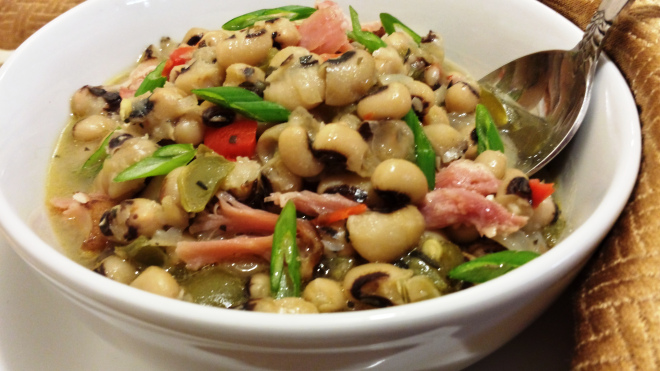 picture of A traditional pot of black-eyed peas with summer savory.